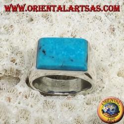 Bague en argent avec turquoise rectangulaire superposée