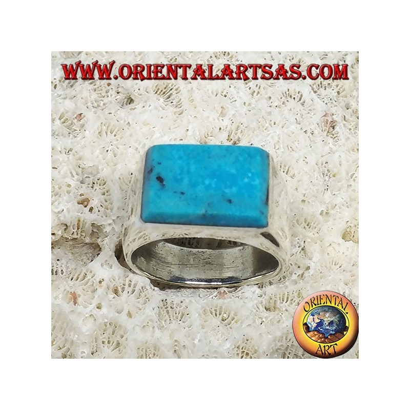 Silver ring with superimposed rectangular turquoise