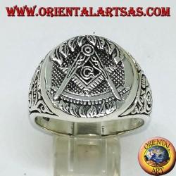 Anello d'argento,simbolo massone squadra compasso e G