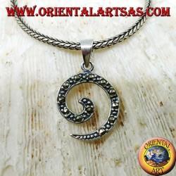 Pendentif spirale en argent avec marcassite
