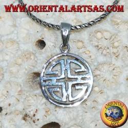Ciondolo in argento Shou (simbolo Feng Shui di benedizione