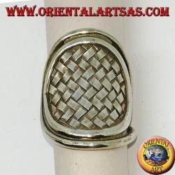 Серебряное кольцо, плетеный каренский щит ручной работы