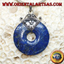 Silver pendant with lapis lazuli donut of mm. 37