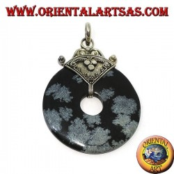 Silver pendant with Obsidian donut of mm. 37