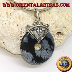 Silberanhänger mit Obsidian in Form eines Donuts von mm. 30