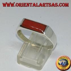 Silver ring with narrow rectangular carnelian