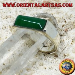 Silver ring with narrow rectangular green agate
