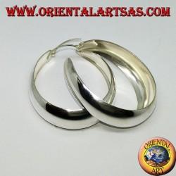 Серебряные серьги-кольца, широкая выпуклая полоса