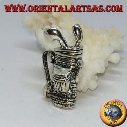 Ciondolo in argento sacca da golf con mazze