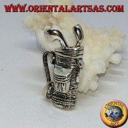 Silver pendant, golf bag with clubs