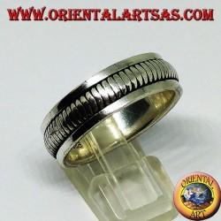 Anillo de banda de plata Anillo antiestrés giratorio con doble anillo giratorio