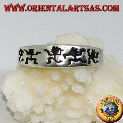 Silver band ring with engraved dancing men