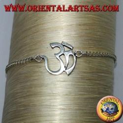 Bracciale in argento morbido con simbolo dell' Aum o Om (ॐ)