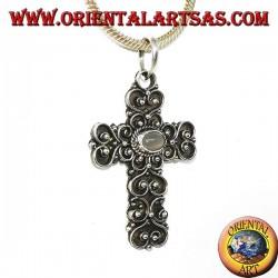 Pendentif croix en argent avec pierre de lune (adularia) et décorations baroques