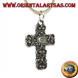 Silver cross pendant with moonstone (adularia) and baroque decorations