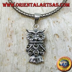 Silver owl pendant with marcasite