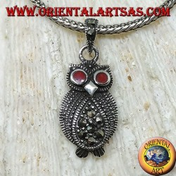Silver owl pendant with marcasite and carnelian eyes