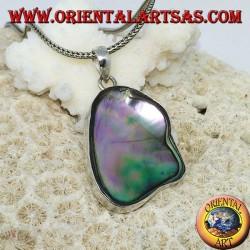 Ciondolo in argento irregolare con paua shell ( abalone ) concava