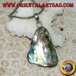 Silver pendant in the shape of an irregular triangle with paua shell (abalone)