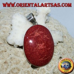 Silver pendant with oval red madrepora