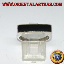 Silver ring with narrow rectangular onyx