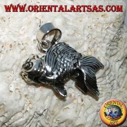 Pendentif mobile poisson rouge en argent