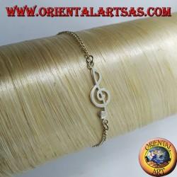 Мягкий серебряный браслет со скрипичным ключом в центре