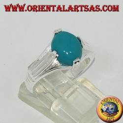 Silver ring with oval-shaped turquoise on four points