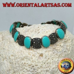 Серебряные браслеты с овальной бирюзой и марказитом