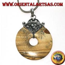 Ciondolo in argento con ciambella di diaspro paesina di mm. 35