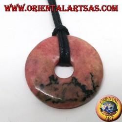 Pendentif en rhodochrosite en forme de beignet 30 mm. cordon réglable complet ciré