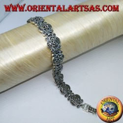 Silver bracelets with marcasite baroque style