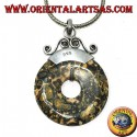 Silver pendant with green speckled jasper in the shape of a donut of mm. 30