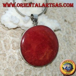 Ciondolo in argento con madrepora rossa (corallo) tonda incastonato
