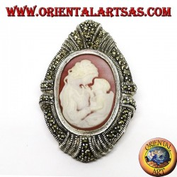 Silver brooch and pendant with a mother cameo and a child surrounded by marcasites