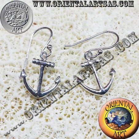 Orecchini àncora in argento semplice