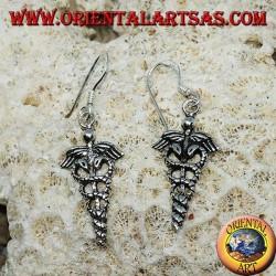 Pendientes colgantes de plata de caduceo, símbolo de la medicina.