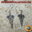 Caduceus pendent silver earrings, symbol of medicine