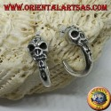 Silver earring, pirate semicircle with skull