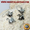 Silver earrings in the shape of a sitting cat
