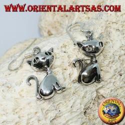Серебряные серьги в виде сидящего кота