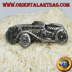 Silver brooch, antique vintage car with marcasites