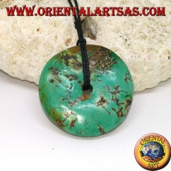 Donut-shaped jade pendant (30 mm) complete with adjustable waxed cord