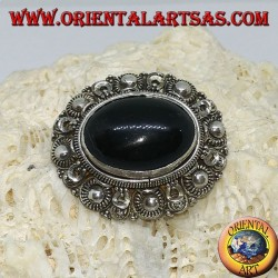 Handmade silver brooch with oval onyx