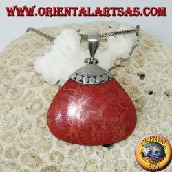 Ciondolo di madrepora rossa (corallo) triangolare con gancio in argento