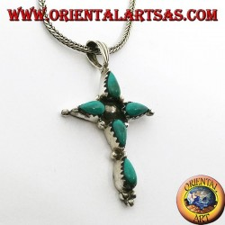 Silver cross pendant with five drop-shaped turquoises