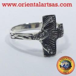 anneau de crucifix d'argent