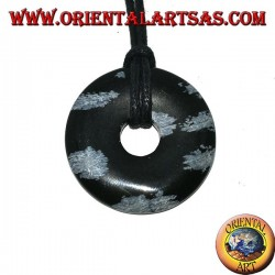 Obsidian pendant in the shape of a donut of mm. 30