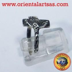 anillo crucifijo de plata