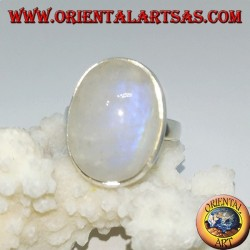 Bague en argent avec pierre de lune arc-en-ciel ovale sertie